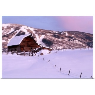 """""""Steamboat Springs, CO, Barn in winter"""" Poster Print"""