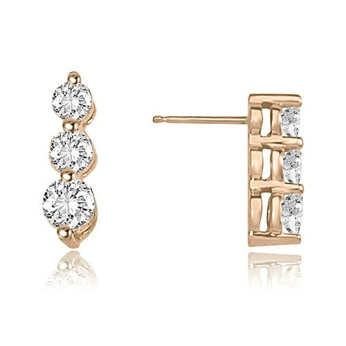 1.00 cttw. 14K Rose Gold Three-Stone Round Cut Diamond Earrings - White H-I