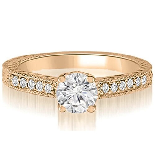 0.65 cttw. 14K Rose Gold Antique Milgrain Round Cut Diamond Engagement Ring