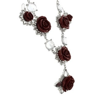 Silver Tone Red Rose Necklace and Dangle Earrings Set