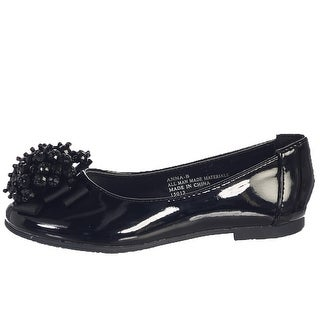 Girls Black Crystal Bead Bow Anna Occasion Dress Shoes Toddler 5-10