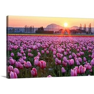 """Tulip field at sunset."" Canvas Wall Art"