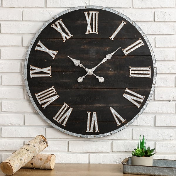 "Glitzhome 27.56""D Oversized Farmhouse Wooden and Galvanized Wall Clock. Opens flyout."
