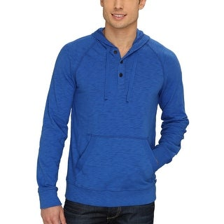 Lucky Brand Hooded Henley Style Shirt Bright Blue X-Large