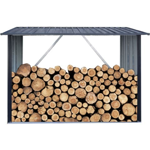 Hanover Galvanized Steel Firewood Rack 7 ft. x 3 ft. x 5 ft. for Indoor and Outdoor Use, Dark Gray