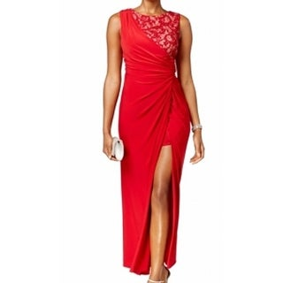 R&M Richards NEW Red Women's Size 14 Slit Ruched Lace Sequin Ball Gown