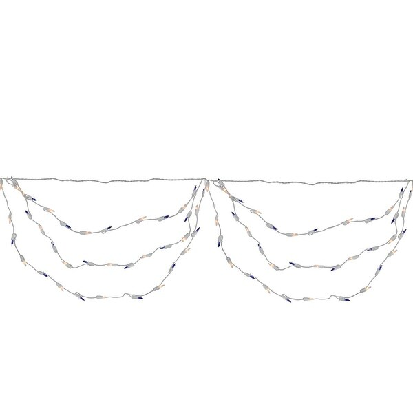 "Set of 150 Blue and Clear Mini Swag Christmas Lights 3.5"" Spacing - White Wire"