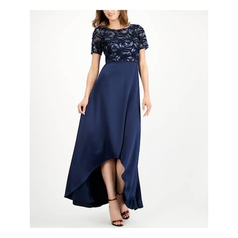 ADRIANNA PAPELL Navy Short Sleeve Maxi Dress 2