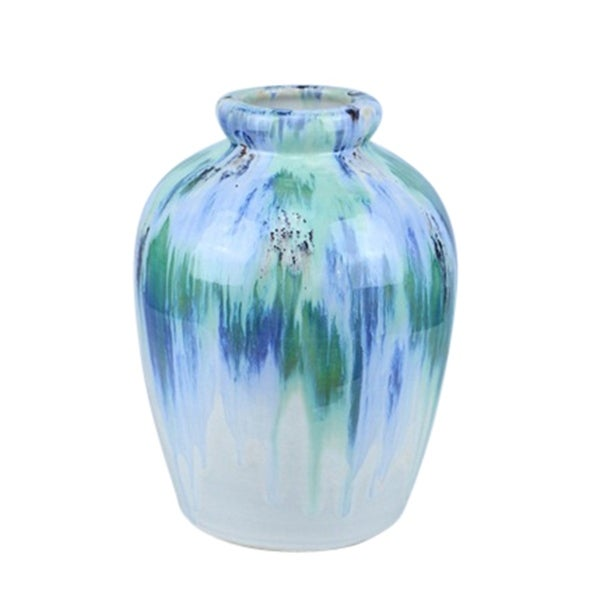 Urn Shape Ceramic Vase with Aesthetic Texture, Large, Multicolor