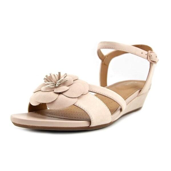Clarks Artisan Parram Stella Women Open Toe Leather Pink Wedge Sandal