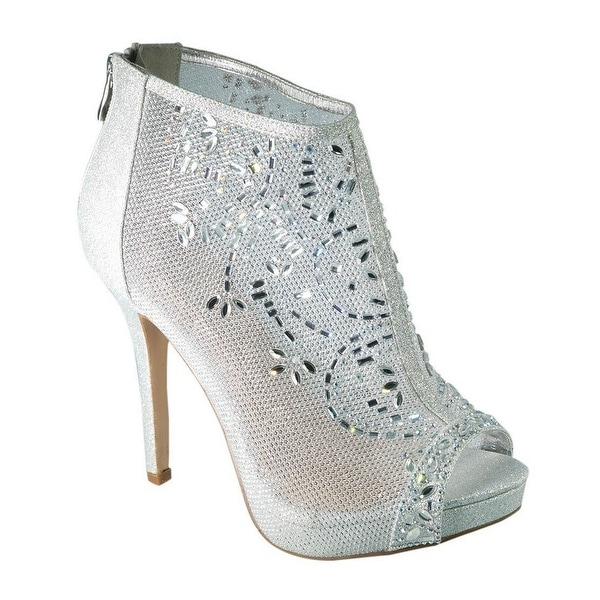 De Blossom Collection Adult Silver Mesh Floral Rhinestone Pumps