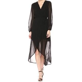 Bardot Black Women's Size 4 Illusio High Low V-Neck Wrap Dress