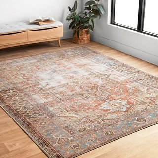 "Alexander Home Tremezzina Printed Medallian Distressed Blue/Rust Bohemian Rug - 8'4"" x 11'6"""