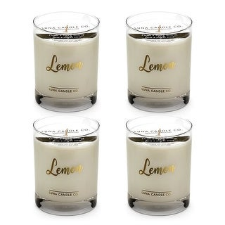 Fresh Lemon Scented Jar Candle, Premium Soy Wax, Slow Burn (4 Pack)