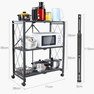 3-Layer Folding Mobile Steel Shelving Unit - midium size