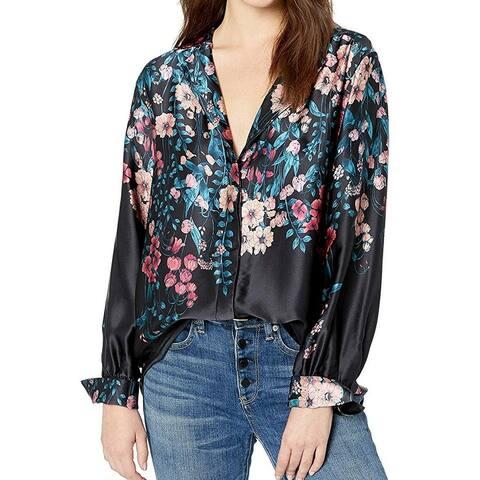 Nanette Leopore Women's Blouse Black Size XS Button-Down Floral