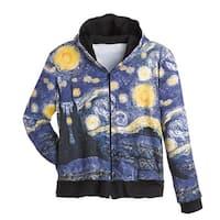 Women's Fine Art Front Zip-Up Hoodie Sweatshirt - Starry Night
