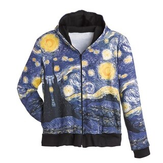 Women's Fine Art Front Zip-Up Hoodie Sweatshirt - Starry Night
