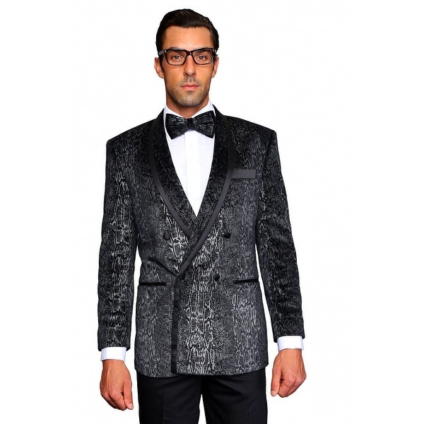MZV-406 Men's Black Manzini Double Breasted Velvet, sport coat