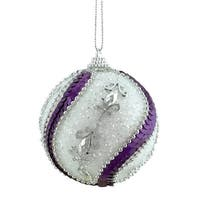 "3ct White, Purple Sequined and Silver Beaded Shatterproof Christmas Ball Ornaments 3"" (75mm) - WHITE"