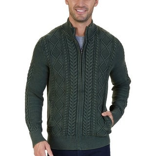 Nautica Moss Green Mens Size 2XL Cable Knit Full Zip Sweater