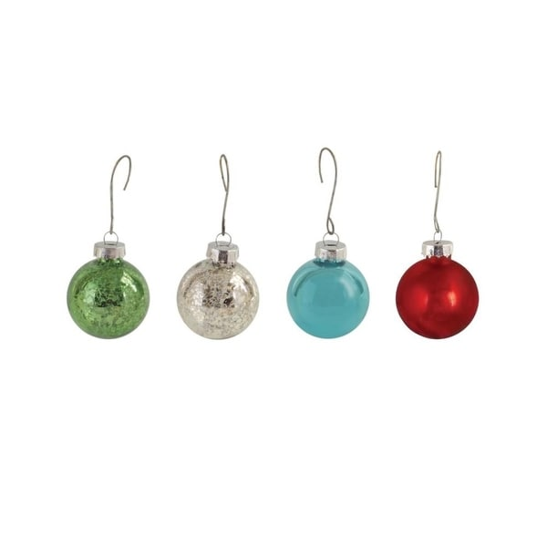 "Club Pack of 96 Shiny and Mercury Glass Multi-Colored Mini Christmas Ball Glass Ornaments 1"" - green"