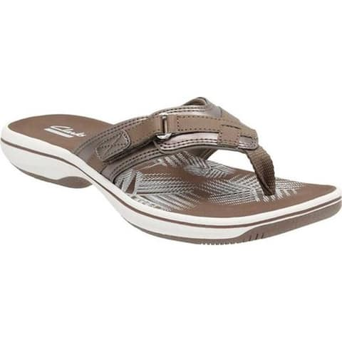 ca1a2e063 Clarks Women s Breeze Sea Flip Flop Pewter Synthetic