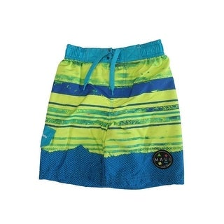 Maui Little Boys Green Blue Adjustable Waist Swimwear Shorts