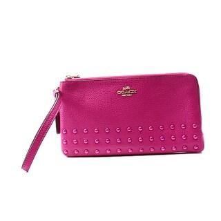 Coach NEW Pink Cerise Leather Lacquer Rivets Double L-Zip Wristlet