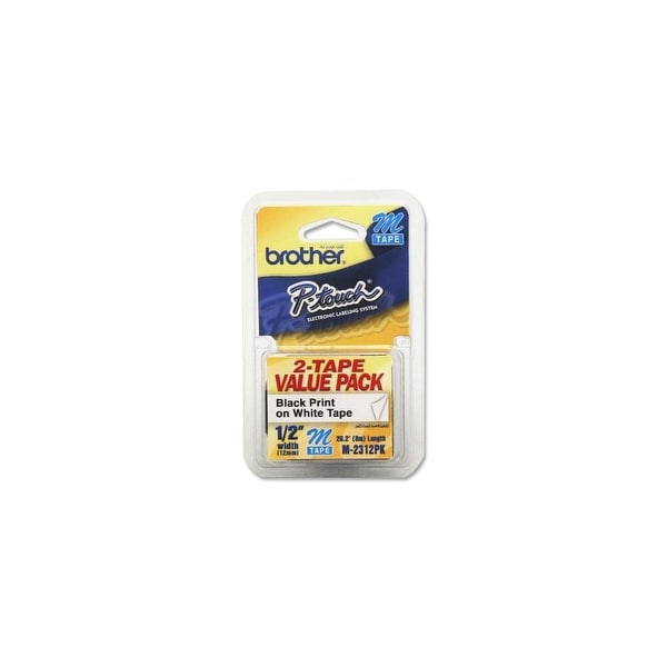 """Brother M2312PK Brother Adhesive Non-laminated Labelmaker Label - 0.50"""" Width x 26.20 ft Length - Rectangle - White - 2 /"""