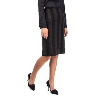 Prada Women's Mohair Wool Blend Tweed Skirt Two Tone