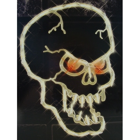 "16"" Lighted Halloween Spooky Skull Window Silhouette Decoration"