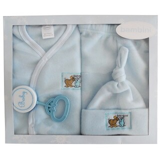 Bambini Baby Boys Blue Printed Collar-less Jacket Cap Pants Rattle 4-Pc Gift Set - One size