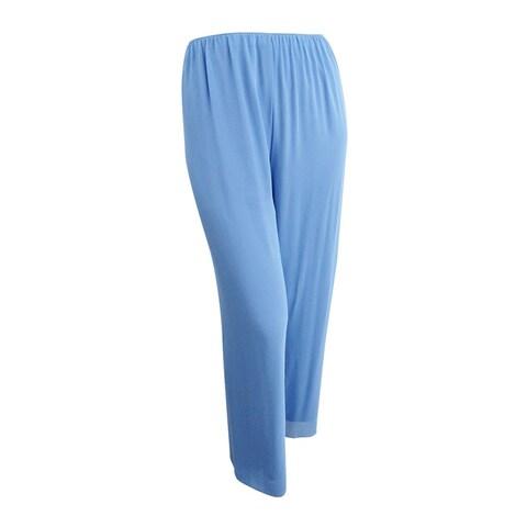 Alex Evenings Women's Wide Leg Chiffon Pants (L, Antique Blue) - Antique Blue - L