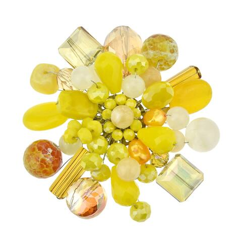 Handmade Modish Yellow Cluster of Sparkling Crystals Pearls and Mix Stones Brooch Pin (Thailand)