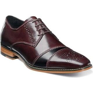 Stacy Adams Men's Talbot Cap Toe Oxford 25125 Burgundy/Black Buffalo Leather
