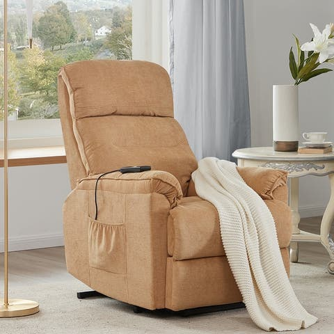 Merax Soft Fabric Upholstery Power Lift Recliner Chair with Remote
