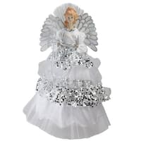 "16"" Lighted Fiber Optic Angel in Silver Sequined Gown Christmas Tree Topper - White"