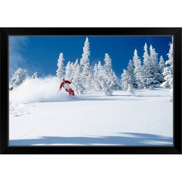 """Lone skier riding through powder, British Columbia, Canada"" Black Framed Print"