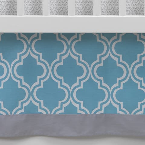 Lambs & Ivy Ryan Collection Blue/Gray/White Geometric Crib Skirt