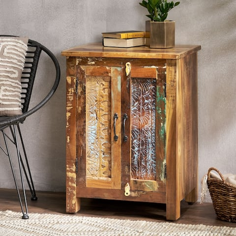 "Greenler Boho Handcrafted 2 Door Wood Sideboard by Christopher Knight Home - 23.00"" L x 18.00"" W x 31.00"" H"