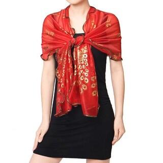 Women Shiny Peafowl Prints Mesh Semi Sheer Long Scarf Fuchsia