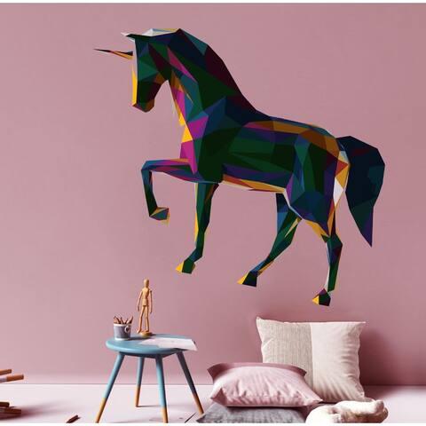 Unicorn Full Color Polygonal Wall Decal