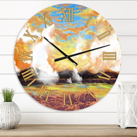 Designart 'Mysterious Morning Clouds Above Lake' Farmhouse wall clock