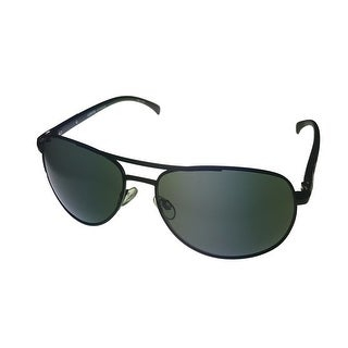 Levi Rxable Mens Sunglass LS138 2 Matte Black Combo Aviator Green Solid Lens - Medium