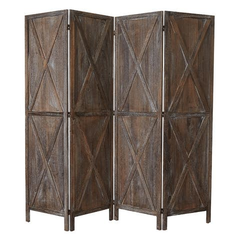 Kinbor 4 Panels Folding Wooden Room Divider Freestanding Privacy Screen W/X-shaped Design for Home, Office, Bathroom, Bedroom