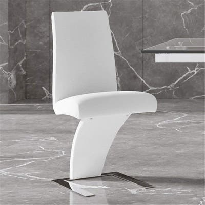 Modern Mesa Dining Chair in White Leatherette and Stainless Steel - White