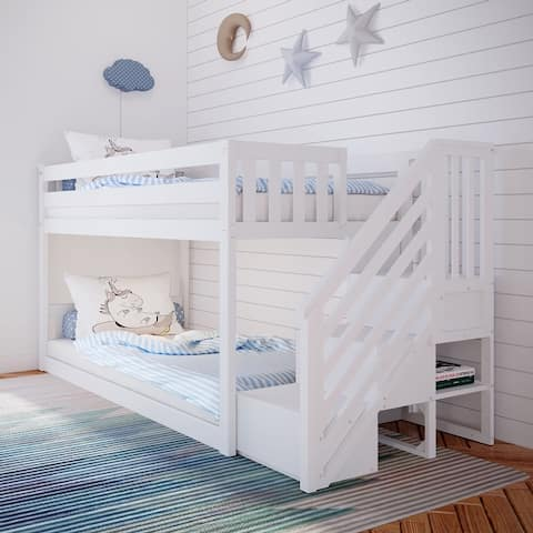 Max & Lily Twin over Twin Low Bunk Bed with Staircase, White