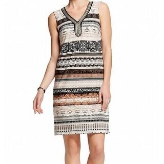 Sandra Darren NEW Beige Women's Size 6 Embellished Printed Tunic Dress