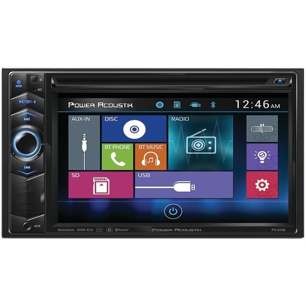 """Power Acoustik Pd-624B 6.2"""" Double-Din In-Dash Lcd Touchscreen Dvd Receiver With Bluetooth(R)"""